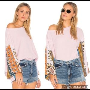 Free People Blossom Thermal Balloon Sleeve Sweater